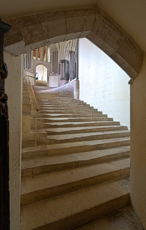 Stairwell leading to Chapter House, Wells Cathedral, UK