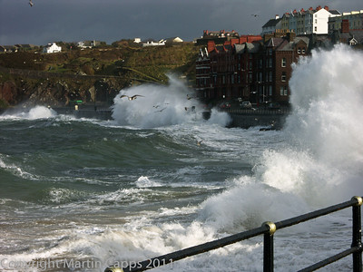 Stormy seas at Peel, Isle of Man.